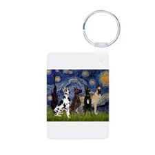 Starry Night / 4 Great Danes Keychains