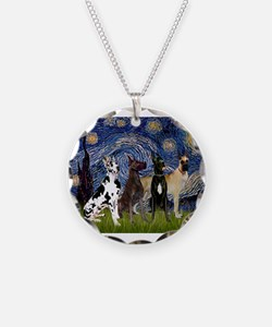 Starry Night / 4 Great Danes Necklace