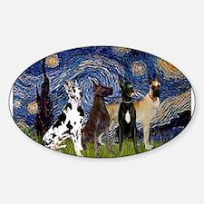 Starry Night / 4 Great Danes Sticker (Oval)