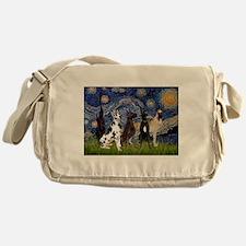 Starry Night / 4 Great Danes Messenger Bag