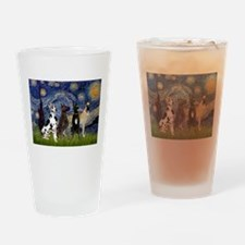 Starry Night / 4 Great Danes Drinking Glass