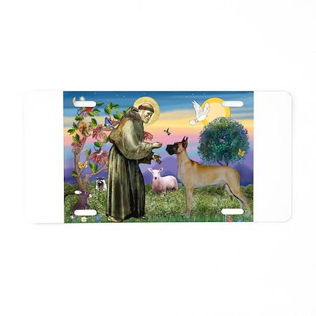 Saint Francis' Great Dane Aluminum License Plate