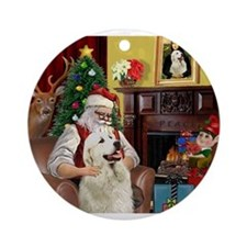 Santa's Great Pyrenees Ornament (Round)
