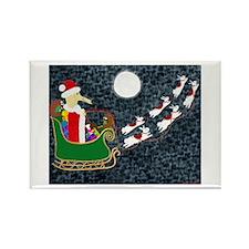 Santa Dachshund Rectangle Magnet