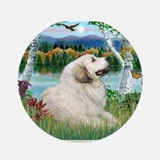 Country Birches & Great Pyrenees Ornament (Round)
