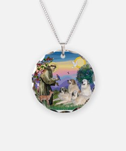 St Francis & Great Pryenees Necklace