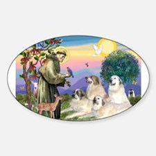 St Francis & Great Pryenees Sticker (Oval)