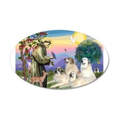 St Francis & Great Pryenees 35x21 Oval Wall Decal