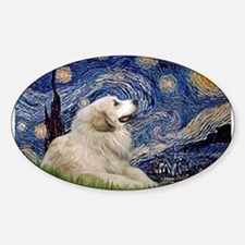 Starry Night Great Pyrenees Sticker (Oval)