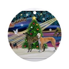 XmasMagic/2Greyhounds Ornament (Round)