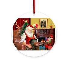Santa's Greyhound (brd) Ornament (Round)
