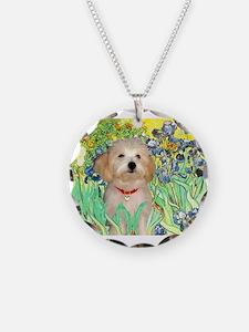 Irises & Havanese Puppy Necklace