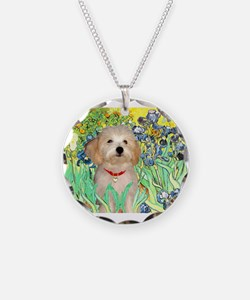 Irises & Havanese Puppy Necklace Circle Charm