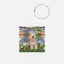Lilies & Havanese Pup Aluminum Photo Keychain