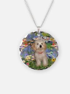 Lilies & Havanese Pup Necklace
