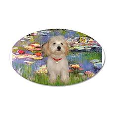 Lilies & Havanese Pup 22x14 Oval Wall Peel