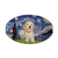 Starry Night Havanese Pup 22x14 Oval Wall Peel