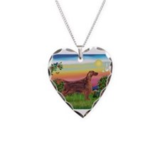 Irish Setter in Bright Countr Necklace Heart Charm