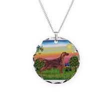 Irish Setter in Bright Countr Necklace Circle Char