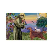 St. Francis & Irish Setter Rectangle Magnet (1