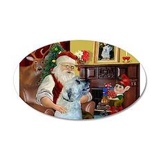 Santa's Irish Wolfhound 22x14 Oval Wall Peel