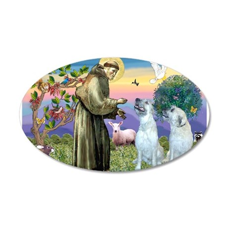 St Francis / 2 Irish Wolfhounds 20x12 Oval Wall De
