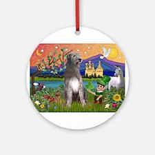 Irish Elf & Irish Wolfhound Ornament (Round)