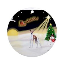 Night Flight/Ital Greyhound Ornament (Round)