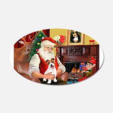 Santa's JRT pup 22x14 Oval Wall Peel