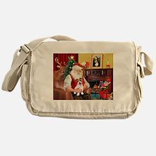 Santa's JRT pup Messenger Bag