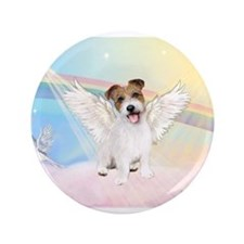 """Angel / Jack Russell Terrier 3.5"""" Button"""