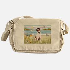 Beach & Rowboat Scene & Jack Russel Messenger Bag