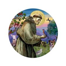 """St. Francis & Jack Russell Terrier 3.5"""" Button"""