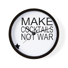 Make Cocktails Not War Wall Clock