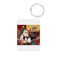 Santa's 2 Japanese Chins Keychains