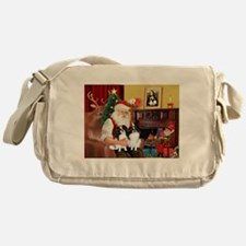 Santa's 2 Japanese Chins Messenger Bag