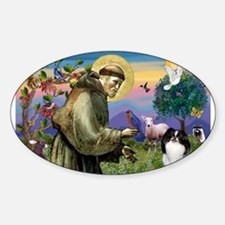 St Francis' Japanese Chin Sticker (Oval)
