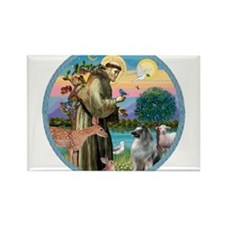 St Francis/Keeshond Rectangle Magnet (10 pack)