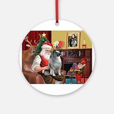 Santa/Keeshond Ornament (Round)