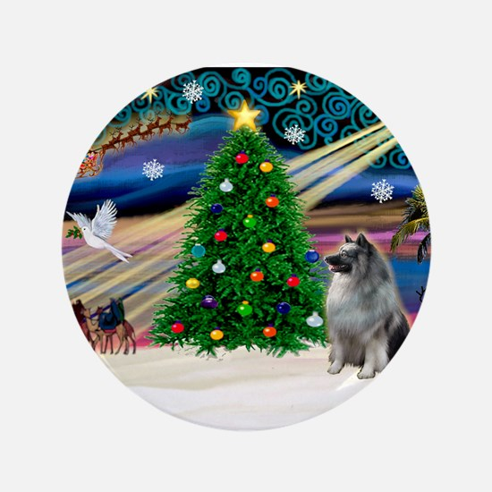 "Xmas Magic & Keeshond 3.5"" Button"