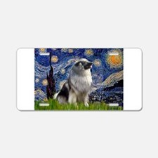 Starry Night Keeshond Aluminum License Plate