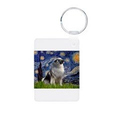 Starry Night Keeshond Keychains