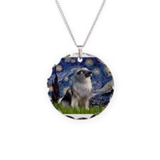Starry Night Keeshond Necklace Circle Charm