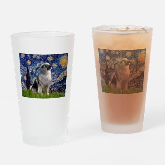 Starry Night Keeshond Drinking Glass