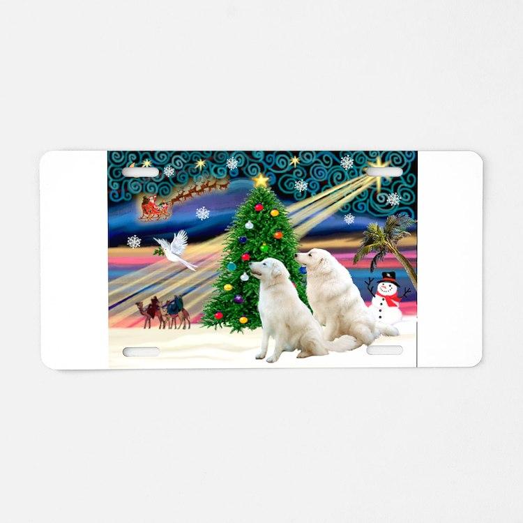 Xmas Magic & Kuvasz Aluminum License Plate