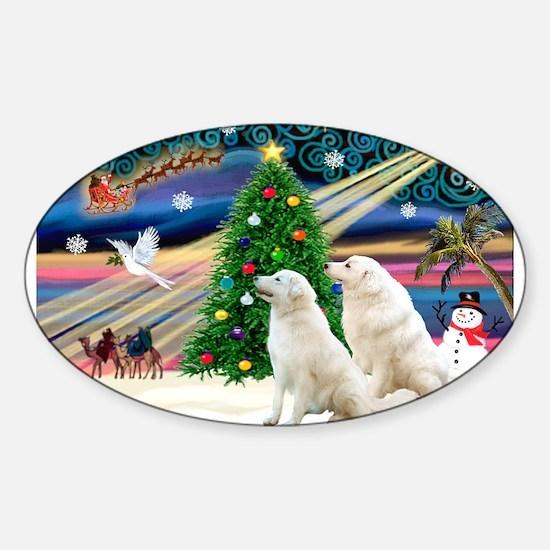Xmas Magic & Kuvasz Sticker (Oval)
