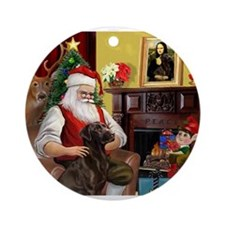 Santa's Chocolate Lab Ornament (Round)