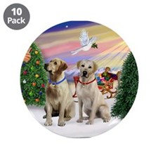 """Treat for 2 Yellow Labs 3.5"""" Button (10 pack)"""