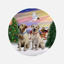 """Treat for 2 Yellow Labs 3.5"""" Button"""