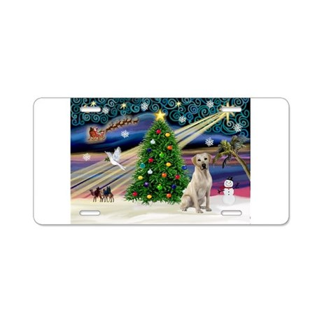 Xmas Magic & Yelow Lab Aluminum License Plate
